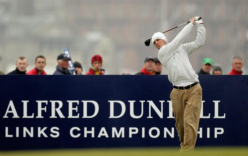 ST ANDREWS, SCOTLAND - OCTOBER 10:  Martin Kaymer of Germany drives off the fourth tee during the final round of The Alfred Dunhill Links Championship at The Old Course on October 10, 2010 in St Andrews, Scotland. (Photo by Ross Kinnaird/Getty Images)