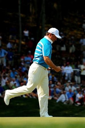 LOUISVILLE, KY - SEPTEMBER 20:  Graeme McDowell of the European team celebrates making a birdie putt on the sixth hole during the afternoon four-ball matches on day two of the 2008 Ryder Cup at Valhalla Golf Club on September 20, 2008 in Louisville, Kentucky.  (Photo by Sam Greenwood/Getty Images)