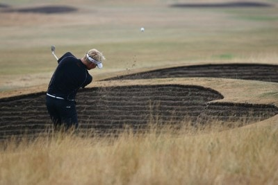 Peter Hedblom hits out of a bunker on the fifth hole during the first round of the 135th Open Championship at Royal Liverpool Golf Club in Hoylake, Great Britain on July 20, 2006.Photo by Sam Greenwood/WireImage.com