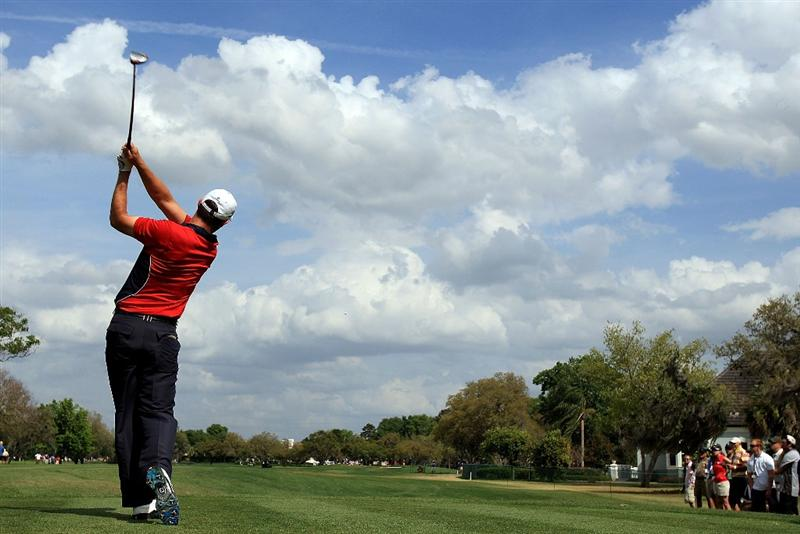 ORLANDO, FL - MARCH 28:  Padraig Harrington of Ireland hits his tee shot on the 11th hole during the third round of the Arnold Palmer Invitational at the Bay Hill Club & Lodge on March 28, 2009 in Orlando, Florida.  (Photo by Scott Halleran/Getty Images)