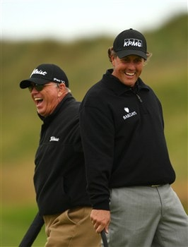 SOUTHPORT, UNITED KINGDOM - JULY 15:  Phil Mickelson of the USA shares a joke with coach Butch Harmon during the second practice round of the 137th Open Championship on July 15, 2008 at Royal Birkdale Golf Club, Southport, England.  (Photo by Richard Heathcote/Getty Images)