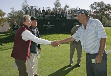 Brad Bryant greets honorary observers on the first tee during the first round of the Charles Schwab Cup Championship - Thursday October 27, 2005 at Sonoma Golf Club - Sonoma, California.Photo by Chris Condon/PGA TOUR/WireImage.com