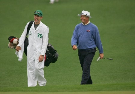 Kirk Triplett approaches the second green with his caddie during the second round of the 2005 Masters at Augusta National Golf Club in  Augusta, GA, April 9, 2005.