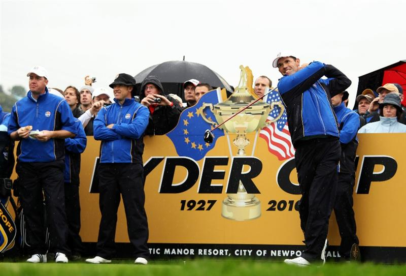 NEWPORT, WALES - SEPTEMBER 29:  Padraig Harrington of Europe tees off during a practice round prior to the 2010 Ryder Cup at the Celtic Manor Resort on September 29, 2010 in Newport, Wales. (Photo by Ross Kinnaird/Getty Images)