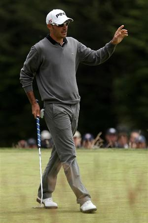 PEBBLE BEACH, CA - JUNE 20:  Gregory Havret of France celebrates after a birdie on the first green during the final round of the 110th U.S. Open at Pebble Beach Golf Links on June 20, 2010 in Pebble Beach, California.  (Photo by Andrew Redington/Getty Images)