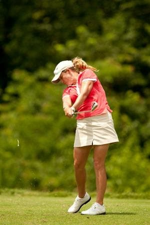 SPRINGFIELD, IL - JUNE 13: Cristie Kerr hits a tee shot during the fourth round of the LPGA State Farm Classic at Panther Creek Country Club on June 13, 2010 in Springfield, Illinois. (Photo by Darren Carroll/Getty Images)