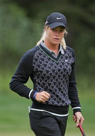 CALGARY, AB - SEPTEMBER 06 : Suzann Pettersen of Norway reacts after making her birdie putt on the sixth hole during the final round of the Canadian Women's Open at Priddis Greens Golf & Country Club on September 6, 2009 in Calgary, Alberta, Canada. (Photo by Hunter Martin/Getty Images)