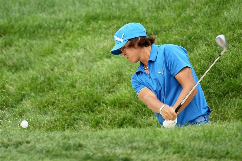 DUBLIN, OH - JUNE 05:  Rickie Fowler hits his second shot on the eighth hole during the third round of The Memorial Tournament presented by Morgan Stanley at Muirfield Village Golf Club on June 5, 2010 in Dublin, Ohio.  (Photo by Andy Lyons/Getty Images)