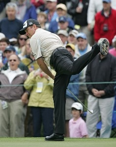 Ted Purdy reacts after a putt during the third round of the 2007 Wachovia Championship held at Quail Hollow Country Club in Charlotte, North Carolina on May 5, 2007. PGA TOUR - 2007 Wachovia Championship - Third RoundPhoto by Richard Schultz/WireImage.com