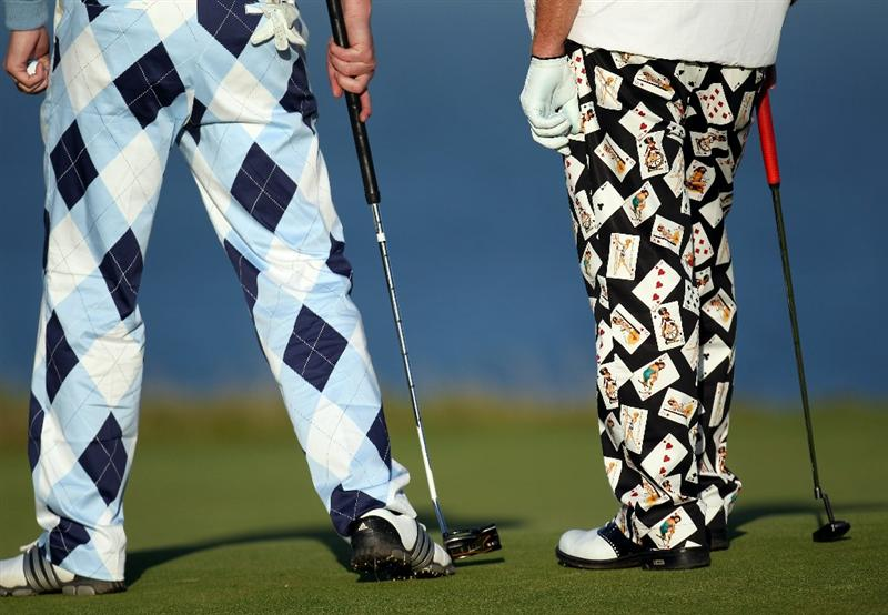 KINGSBARNS, SCOTLAND - OCTOBER 07:  John Daly of the USA with his playing partner Ogden Phipps ll on the 18th green during the first round of The Alfred Dunhill Links Championship at Kingsbarns Golf Links on October 7, 2010 in Kingsbarns, Scotland.  (Photo by Ross Kinnaird/Getty Images)