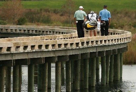 PORT SAINT LUCIE, FL - OCTOBER 25:  Frank Lickliter II and Lucas Glover make their way across a bridge after hitting their tee shots on the sixth hole during the Ginn Sur Mer Classic at Tesoro on October 25, 2007 in Port Saint Lucie, Florida.  (Photo by Doug Benc/Getty Images)
