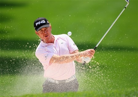 AKRON, OH - AUGUST 01:  Miguel Angel Jimenez of Spain plays his bunker shot on the ninth hole during second round of the World Golf Championship Bridgestone Invitational on August 1, 2008 at Firestone Country Club in Akron, Ohio.  (Photo by Stuart Franklin/Getty Images)