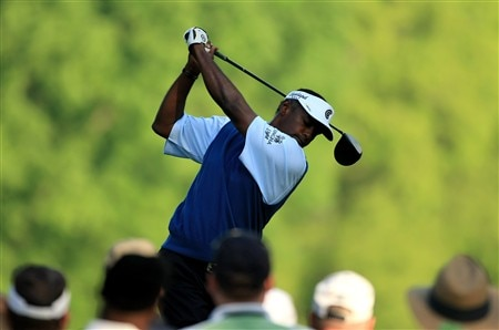 CHARLOTTE, NC - MAY 01:  Vijay Singh of Fiji tee's off at the 4th during the first round of the Wachovia Championship at Quail Hollow Country Club on May 1, 2008 Charlotte, North Carolina.  (Photo by Richard Heathcote/Getty Images)