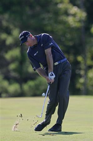 NORTON, MA - SEPTEMBER 01:  Jim Furyk hits his second shot on the 13th hole during the final  round of the Deutsche Bank Championship at TPC of Boston held on September 1, 2008 in Norton, Massachusetts.  (Photo by Michael Cohen/Getty Images)