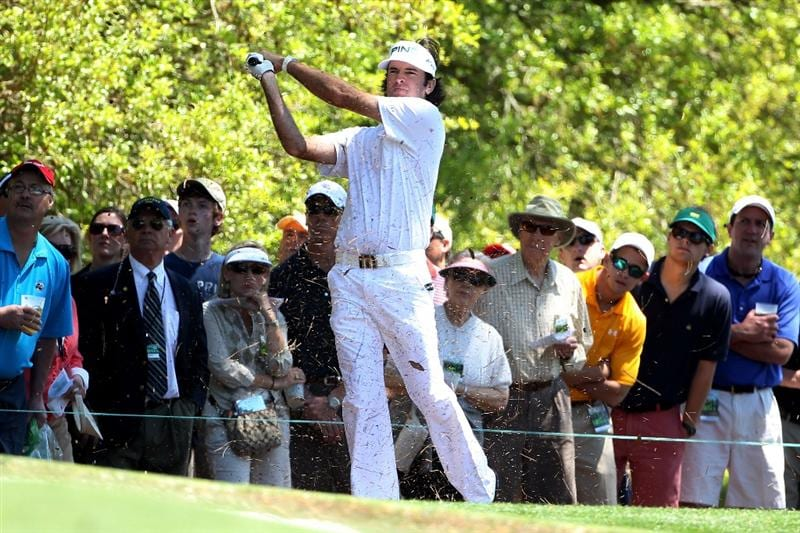 AUGUSTA, GA - APRIL 07:  Bubba Watson hits his second shot on the first hole during the first round of the 2011 Masters Tournament at Augusta National Golf Club on April 7, 2011 in Augusta, Georgia.  (Photo by Andrew Redington/Getty Images)