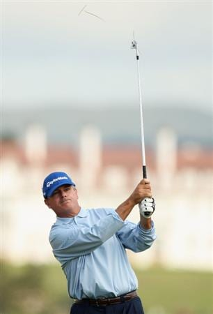 TURNBERRY, SCOTLAND - JULY 16:  Paul Goydos of USA plays a shot during round one of the 138th Open Championship on the Ailsa Course, Turnberry Golf Club on July 16, 2009 in Turnberry, Scotland.  (Photo by Warren Little/Getty Images)
