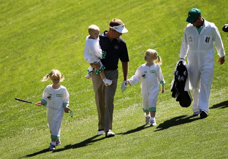AUGUSTA, GA - APRIL 06:  Stuart Appleby of Australia walks with his children Max, Mia, and Ella watch the action during the Par 3 Contest prior to the 2011 Masters Tournament at Augusta National Golf Club on April 6, 2011 in Augusta, Georgia.  (Photo by Jamie Squire/Getty Images)