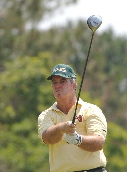Ed Dougherty drives from the seventh tee  during the opening round of the 2005 Blue Angels Class  May 13 in Milton, Fl.Photo by Al Messerschmidt/WireImage.com
