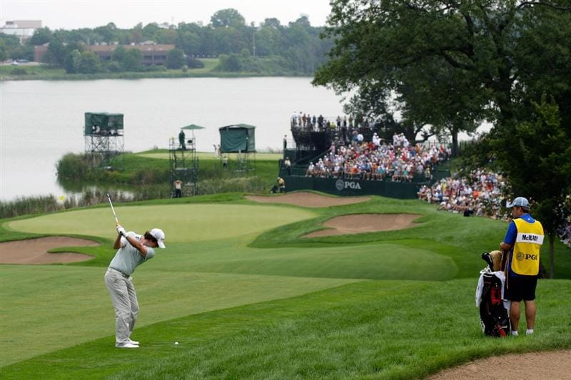 CHASKA, MN - AUGUST 15:  Rory McIlroy of Northern Ireland plays his second shot on the tenth hole during the third round of the 91st PGA Championship at Hazeltine National Golf Club on August 15, 2009 in Chaska, Minnesota.  (Photo by Jamie Squire/Getty Images)