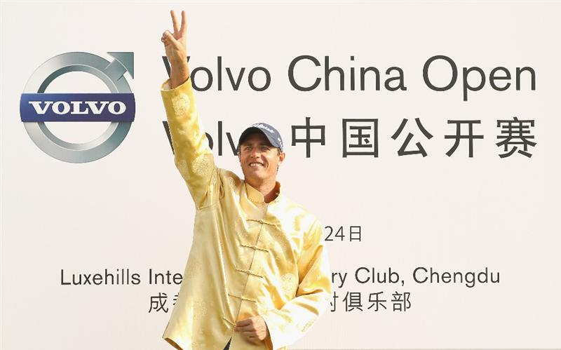 CHENGDU, CHINA - APRIL 24:  Nicolas Colsaerts of Belgium celebrates after winning the Volvo China Open at Luxehills Country Club on April 24, 2011 in Chengdu, China.  (Photo by Ian Walton/Getty Images)