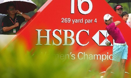 SINGAPORE - FEBRUARY 28:  Lorena Ochoa of Mexico hits her tee shot on the 16th hole during the first round of the HSBC Women's Champions at Tanah Merah Country Club on February 28, 2008 in Singapore.  (Photo by Scott Halleran/Getty Images)