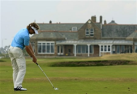 TROON, UNITED KINGDOM - JULY 26: Bernhard Langer of Germany plays his approach to the 18th green during the third round of the Senior Open Championships at Royal Troon on July 26, 2008 in Troon, Scotland  (Photo by Phil Inglis/Getty Images)