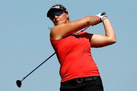 PRATTVILLE, AL - SEPTEMBER 30: Maria Hjorth tees off on the ninth hole during the final round of the Navistar LPGA Classic at the Robert Trent Jones Golf Trail at Capitol Hill on September 30, 2007 in Prattville, Alabama.  (Photo by Chris Graythen/Getty Images)