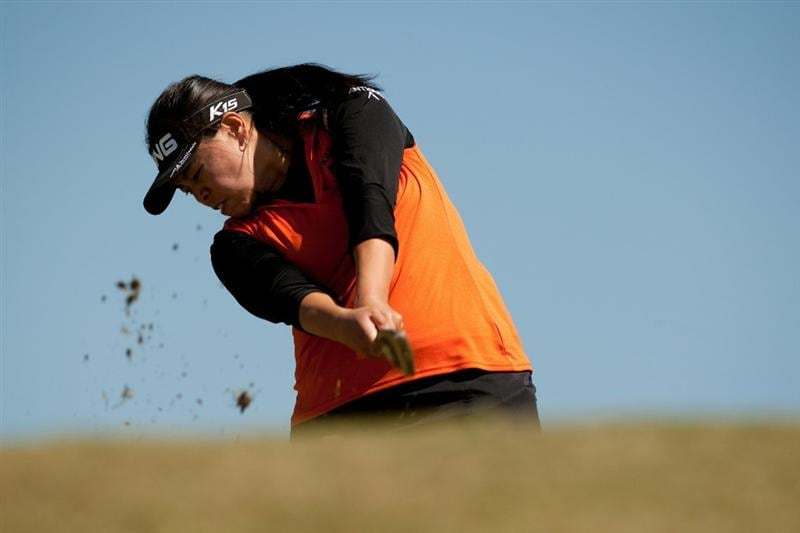PRATTVILLE, AL - OCTOBER 7: Dorothy Delasin follows through on a tee shot during the first round of the Navistar LPGA Classic at the Senator Course at the Robert Trent Jones Golf Trail at Capitol Hill on October 7, 2010 in Prattville, Alabama. (Photo by Darren Carroll/Getty Images)