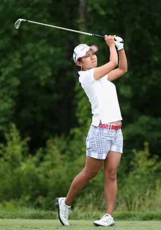 SPRINGFIELD, IL - JUNE 06:  Ai Miyazato of Japan hits a tee shot on the second hole during the third round of the LPGA State Farm Classic golf tournament at Panther Creek Country Club on June 6, 2009 in Springfield, Illinois.  (Photo by Christian Petersen/Getty Images)