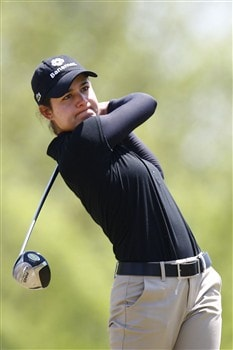 BROKEN ARROW, OK - MAY 03: Lorena Ochoa of Mexico hits a tee shot on the 12th hole during the third round of the SemGroup Championship presented by John Q. Hammons on May 3, 2008 at Cedar Ridge Country Club in Broken Arrow, Oklahoma. (Photo by G. Newman Lowrance/Getty Images)