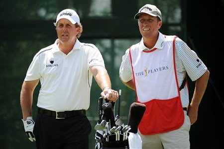 PONTE VEDRA BEACH, FL - MAY 09:  (L-R) Phil Mickelson waits on the fifth tee with caddie Jim 'Bones' MacKay during the second round of THE PLAYERS Championship on THE PLAYERS Stadium Course at TPC Sawgrass on May 9, 2008 in Ponte Vedra Beach, Florida.  (Photo by Sam Greenwood/Getty Images)