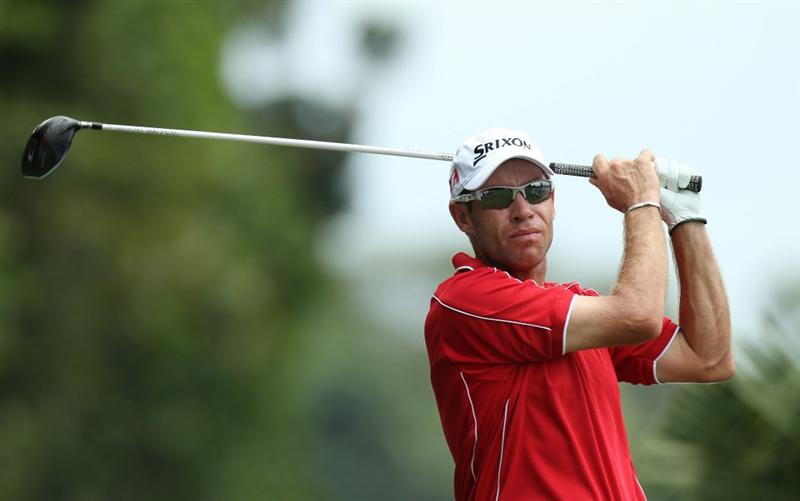 KUALA LUMPUR, MALAYSIA - OCTOBER 31: Brian Davis of England during day four of the CIMB Asia Pacific Classic at The MINES Resort & Golf Club on October 31, 2010 in Kuala Lumpur, Malaysia. (Photo by Stanley Chou/Getty Images)