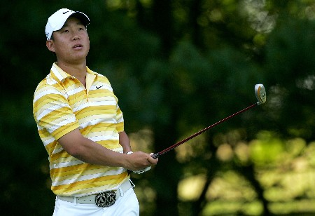 PARAMUS, NJ - AUGUST 21: Anthony Kim plays a shot during the first round of The Barclays at Ridgewood Country Club on August 21, 2008 in Paramus New Jersey. (Photo by Sam Greenwood/Getty Images)