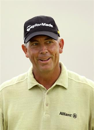 SAN FRANCISCO - NOVEMBER 04:  Tom Lehman smiles after he made a birdy put on the 16th hole during round 1 of the Charles Schwab Cup Championship at Harding Park Golf Course on November 4, 2010 in San Francisco, California.  (Photo by Ezra Shaw/Getty Images)