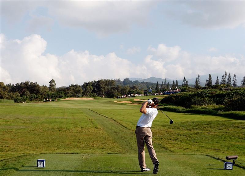 KAPALUA, HI - JANUARY 10:  Geoff Ogilvy of Australia plays a shot on the 14th hole during the third round of the Mercedes-Benz Championship at the Plantation Course on January 10, 2009 in Kapalua, Maui, Hawaii.  (Photo by Sam Greenwood/Getty Images)