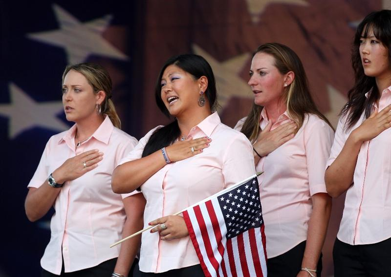 SUGAR GROVE, IL - AUGUST 20:  USA Team members (left to right) Cristie Kerr, Christina Kim, Brittany Laing, Michelle Wie, Angela Stanford during the Opening Ceremony for the 2009 Solheim Cup Matches, at the Rich Harvest Farms Golf Club on August 20, 2009 in Sugar Grove, Ilinois  (Photo by David Cannon/Getty Images)