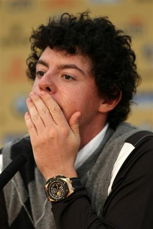 NEWPORT, WALES - SEPTEMBER 28:  Rory McIlroy of the Europe Team answers questions from the media at a press conference following a practice round prior to the 2010 Ryder Cup at the Celtic Manor Resort on September 28, 2010 in Newport, Wales.  (Photo by Ross Kinnaird/Getty Images)