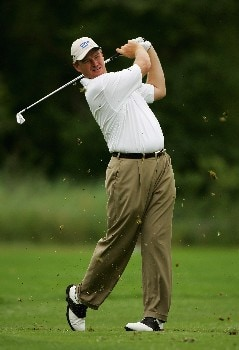 MALELANE, SOUTH AFRICA - DECEMBER 07:  Ernie Els of South Africa plays his second shot into the fourth green during the second round of The Alfred Dunhill Championship at The Leopard Creek Country Club on December 7, 2007 in Malelane, South Africa.  (Photo by Warren Little/Getty Images)