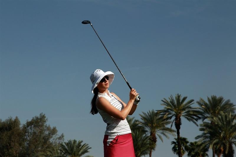 RANCHO MIRAGE, CA - APRIL 03:  Sandra Gal of Germany plays her tee shot at the 16th hole during the third round of the 2010 Kraft Nabisco Championship, on the Dinah Shore Course at The Mission Hills Country Club, on April 3, 2010 in Rancho Mirage, California.  (Photo by David Cannon/Getty Images)