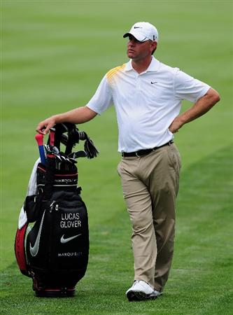 AKRON, OH - AUGUST 04:  Lucas Glover of the U.S. pauses during a practice round of the World Golf Championship Bridgestone Invitational on August 4, 2009 at Firestone Country Club in Akron, Ohio.  (Photo by Stuart Franklin/Getty Images)