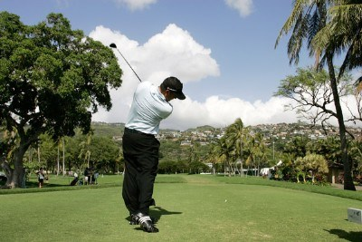 Pat Perez hits a drive during practice round at the Sony Open in Hawaii held at Waialae Country Club on January 9, 2008 in Honolulu, Hawaii. PGA TOUR - 2008 Sony Open in Hawaii - Pro-AmPhoto by Stan Badz/PGA TOUR/WireImage.com