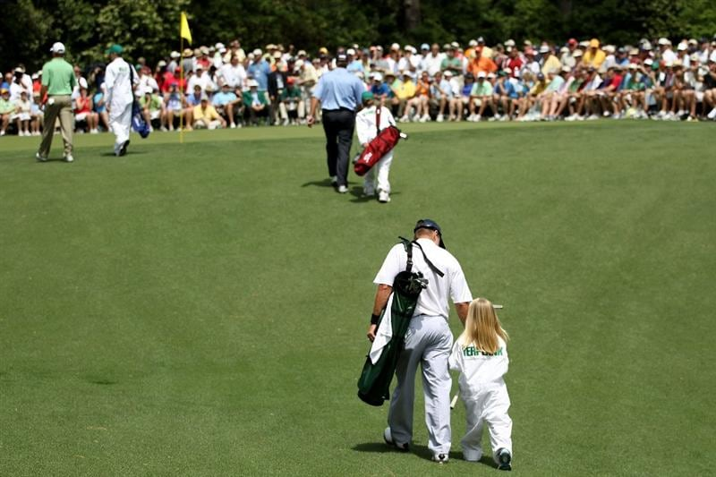 AUGUSTA, GA - APRIL 07:  (L-R) Jerry Kelly; Steve Stricker and Scott Verplank walk with their caddies during the Par 3 Contest prior to the 2010 Masters Tournament at Augusta National Golf Club on April 7, 2010 in Augusta, Georgia.  (Photo by Jamie Squire/Getty Images)