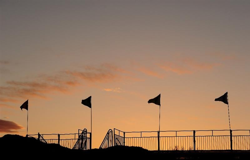 MARANA, AZ - FEBRUARY 20:  Sponsors flags at sunrise prior to round four of the Accenture Match Play Championship at the Ritz-Carlton Golf Club on February 20, 2010 in Marana, Arizona.  (Photo by Stuart Franklin/Getty Images)