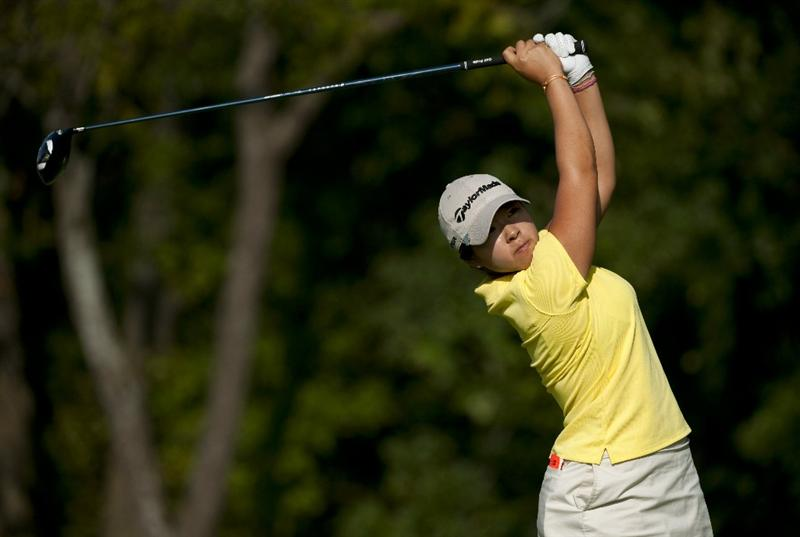 ROGERS, AR - SEPTEMBER 11:  Mindy Kim makes a tee shot on the seventh hole during the second round of the P&G NW Arkansas Championship at the Pinnacle Country Club on September 11, 2010 in Rogers, Arkansas.  (Photo by Robert Laberge/Getty Images)
