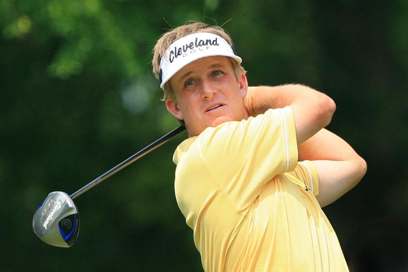 FORT WORTH, TX - MAY 22: David Toms hits his tee shot on the 12th hole during the Crowne Plaza Invitational at Colonial Country Club on May 22, 2011 in Fort Worth, Texas. (Photo by Hunter Martin/Getty Images)