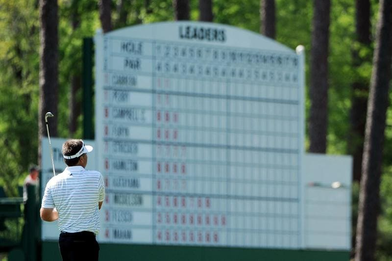 AUGUSTA, GA - APRIL 12:  Kenny Perry watches his approach shot on the third hole during the final round of the 2009 Masters Tournament at Augusta National Golf Club on April 12, 2009 in Augusta, Georgia.  (Photo by Harry How/Getty Images)