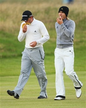 SOUTHPORT, UNITED KINGDOM - JULY 16:  Sergio Garcia of Spain and Camilo Villegas of Colombia walk to the fifth green during the third practice round of the 137th Open Championship on July 16, 2008 at Royal Birkdale Golf Club, Southport, England.  (Photo by Andrew Redington/Getty Images)