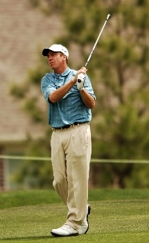 Todd Fischer hits his approach shot from the second fairway during the second round of the 2005 Shell Houston Open, at the Redstone Golf Club in Houston, Texas April 22, 2005.Photo by Steve Grayson/WireImage.com