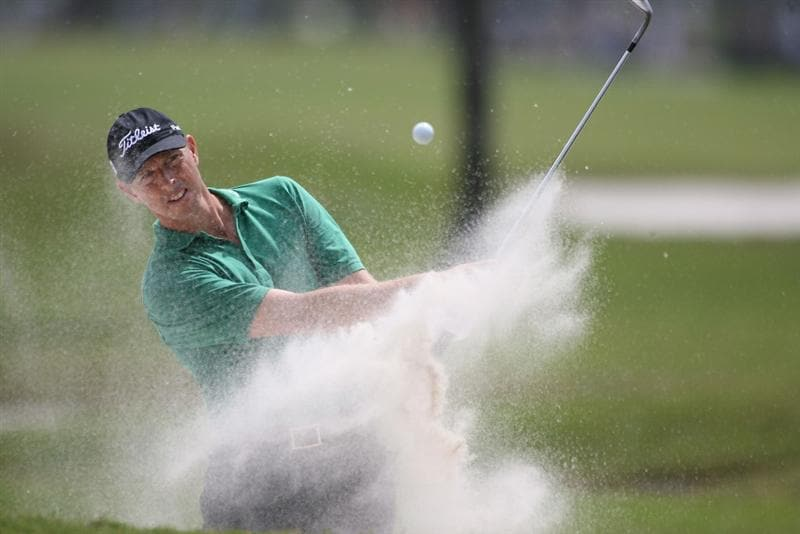 DORAL, FL - MARCH 11:  Soren Hansen of Denmark hits out of the bunker on the 11th hole during round one of the 2010 WGC-CA Championship at the TPC Blue Monster at Doral on March 11, 2010 in Doral, Florida.  (Photo by Marc Serota/Getty Images)