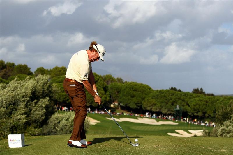 SOTOGRANDE, SPAIN - OCTOBER 31:  Miguel Angel Jimenez of Spain tee's off at the 15th during the final round of the Andalucia Valderrama Masters at Club de Golf Valderrama on October 31, 2010 in Sotogrande, Spain.  (Photo by Richard Heathcote/Getty Images)